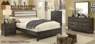 MA10 2141- 7 Pc Queen/King Grey Leather back bedroom